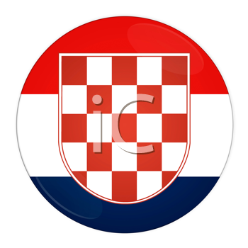Abstract illustration: button with flag from Croatia country