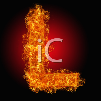 Fire letter L on a black background
