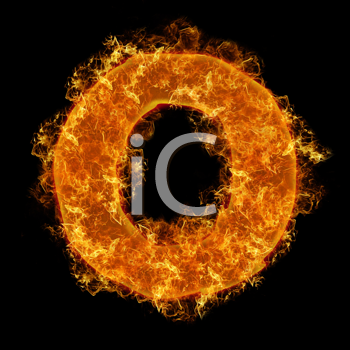 Fire small letter O on a black background