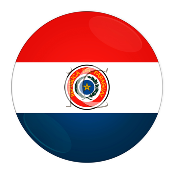 Abstract illustration: button with flag from Paraguay country