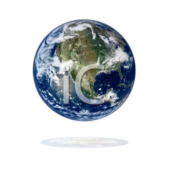 3d earth on white. Data source: nasa.