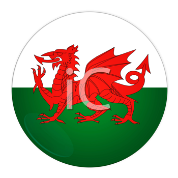 Abstract illustration: button with flag from Wales country