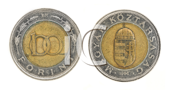 Royalty Free Clipart Image of a Hundred Forint - Hungarian Currency
