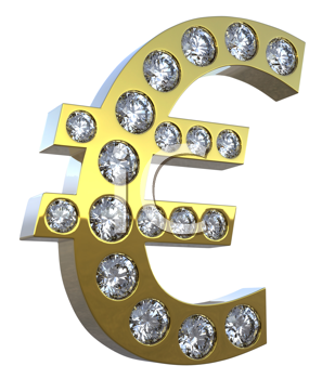 Royalty Free Clipart Image of a Golden Euro Diamond Symbol