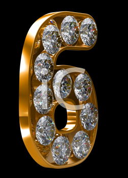 Royalty Free Clipart Image of a Golden Number Six Incrusted With Diamonds