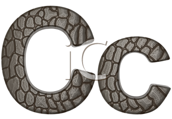 Royalty Free Clipart Image of Alligator Skin Font C Lowercase and Capital Letters