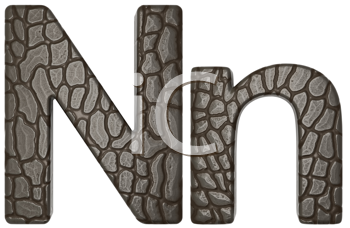 Royalty Free Clipart Image of Alligator Skin Font N Lowercase and Capital Letters