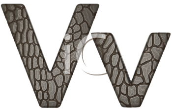 Royalty Free Clipart Image of Alligator Skin Font V Lowercase and Capital Letters