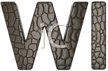 Royalty Free Clipart Image of Alligator Skin Font W and I Lowercase and Capital Letters