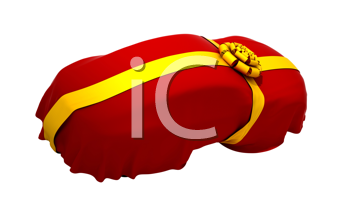 Royalty Free Clipart Image of a Car Wrapped in Cloth