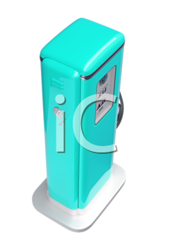 Royalty Free Clipart Image of a Vintage Blue Fuel Pump