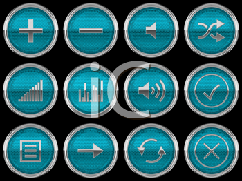 Royalty Free Clipart Image of Blue Control Panel Buttons