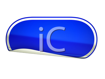 Royalty Free Clipart Image of a Bent Blue Sticker
