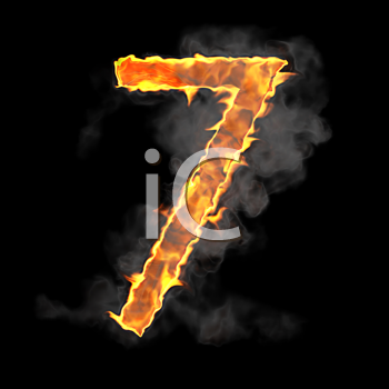 Royalty Free Clipart Image of a Burning Number Seven