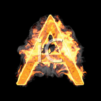Royalty Free Clipart Image of a Burning Letter A
