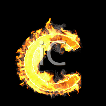 Royalty Free Clipart Image of a Burning Letter C