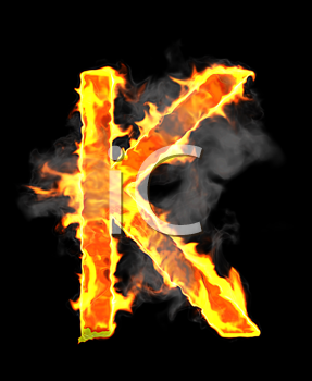 Royalty Free Clipart Image of a Burning Letter K
