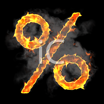 Royalty Free Clipart Image of a Flaming Percent Symbol