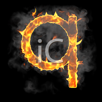 Royalty Free Clipart Image of a Burning Letter Q
