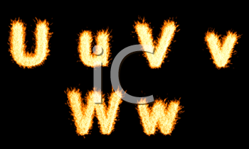 Royalty Free Clipart Image of Burning Letters U, V and W