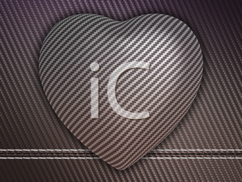 Royalty Free Clipart Image of a Carbon Fiber Heart Background