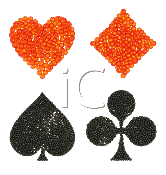 Royalty Free Clipart Image of Caviar Shaped Card Suits