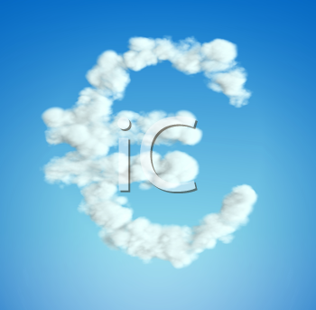 Royalty Free Clipart Image of cloud Euro Symbol