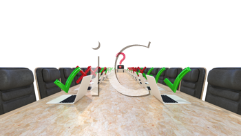 Royalty Free Clipart Image of a Corporate Meeting