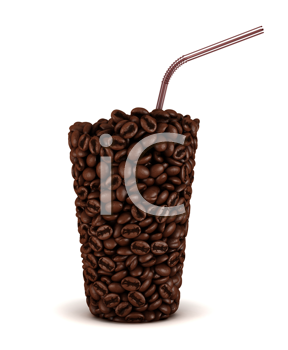 Royalty Free Clipart Image of a Glass Made of Coffee Beans