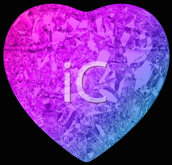 Royalty Free Clipart Image of a Colored Diamond Heart