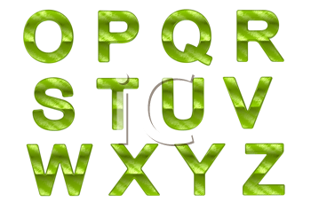 Royalty Free Clipart Image of Green Letters O to Z
