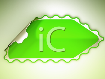 Royalty Free Clipart Image of a Bent Green Sticker