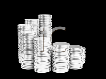 Royalty Free Clipart Image of Stacks of Silver Coins