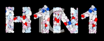 Royalty Free Clipart Image of Pills Spelling Out H1N1
