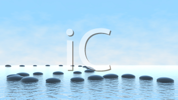 Royalty Free Clipart Image of Pebbles on Water