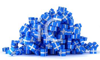 Royalty Free Clipart Image of a Pile of Blue Presents