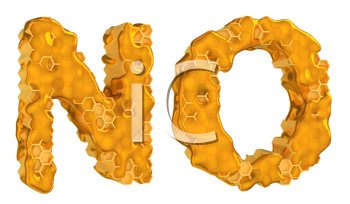 Royalty Free Clipart Image of the Letters N and O in Honey