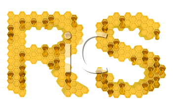Royalty Free Clipart Image of the Letters R and S in Honey