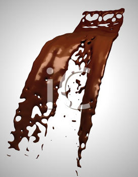 Royalty Free Clipart Image of Chocolate Liquid Splashing