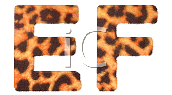 Royalty Free Clipart Image of Leopard Print R and S Leopard Print E and F