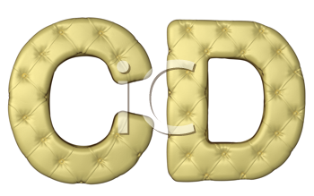 Royalty Free Clipart Image of Beige Leather Font of C and D