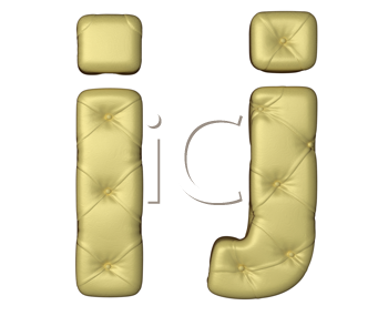 Royalty Free Clipart Image of Beige Leather Font of I and J