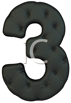 Royalty Free Clipart Image of a Black Leather Number Three
