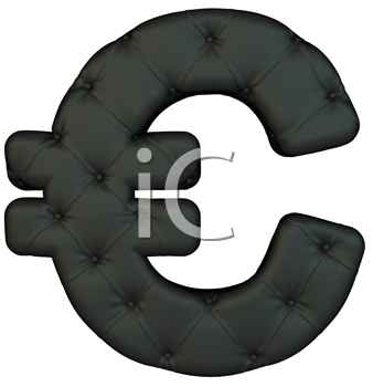 Royalty Free Clipart Image of a Black Leather Font Euro Symbol