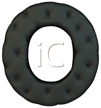 Royalty Free Clipart Image of a Black Leather Font O