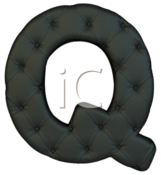 Royalty Free Clipart Image of a Black Leather Font Q