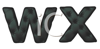 Royalty Free Clipart Image of Black Leather Font W and X
