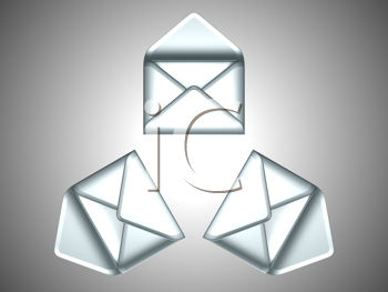 Royalty Free Clipart Image of Three Opened Envelopes