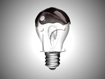 Royalty Free Clipart Image of an Oil Spill Light Bulb