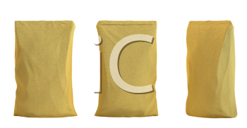 Royalty Free Clipart Image of Three Golden Packs for Coffee or Tea